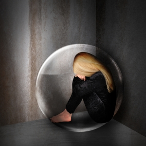 woman in a bubble